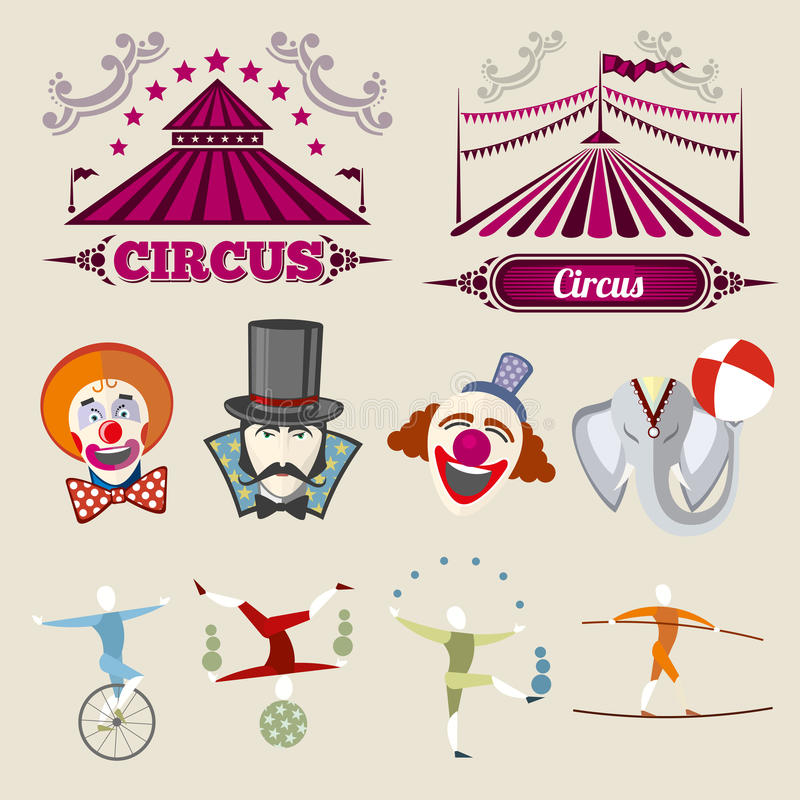 Vintage hipster circus vector set in flat style stock illustration