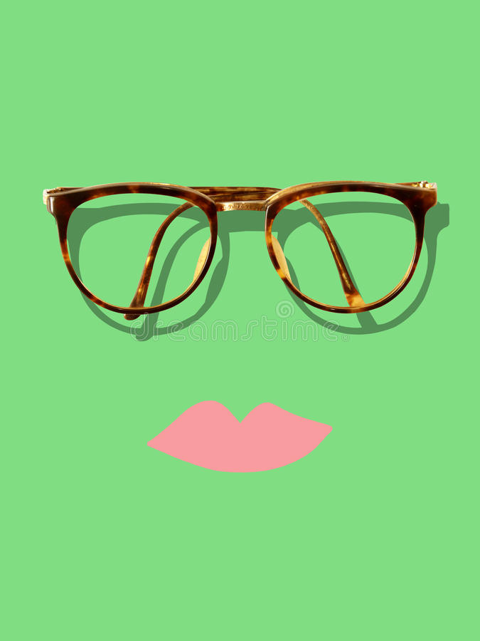 Vintage hipster glasses and lip stock images