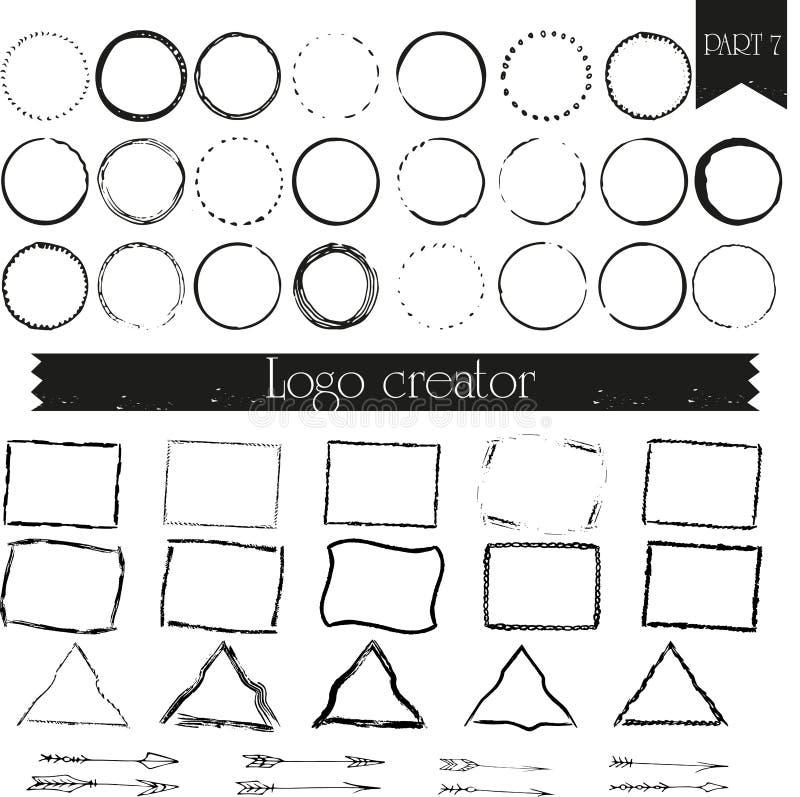 Vintage, hipster handdrawn logo elements vector illustration