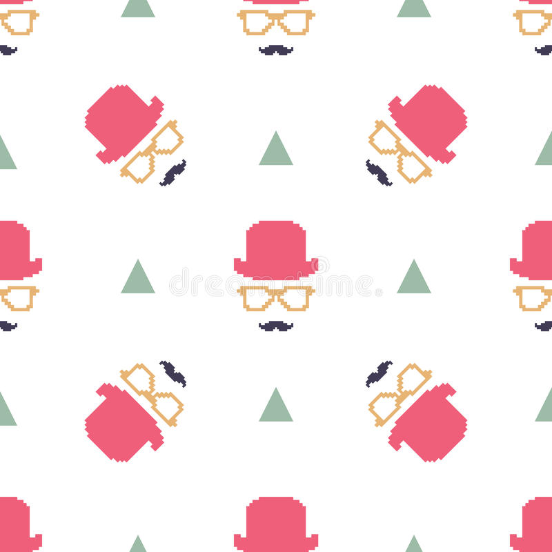 Vintage hipster hat and mustache symbol seamless pattern stock illustration