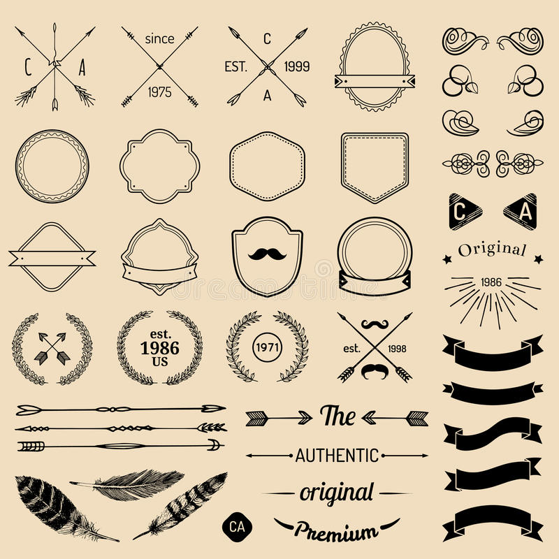 Vintage hipster logo elements with arrows,ribbons,feathers, laurels, badges. Emblem template constructor. Iicon creator. stock illustration
