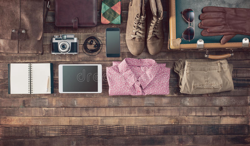 Vintage hipster traveler clothing and accessories royalty free stock images