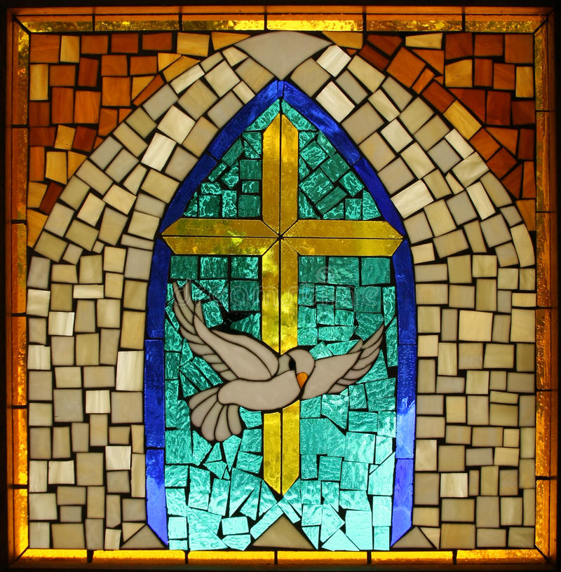 Vintage Hispanic Catholic Stained Glass Dove Cross. Handmade stained glass windows salvaged from an ancient, out-of-the-way New Mexico Catholic Shrine. Depicts stock photos