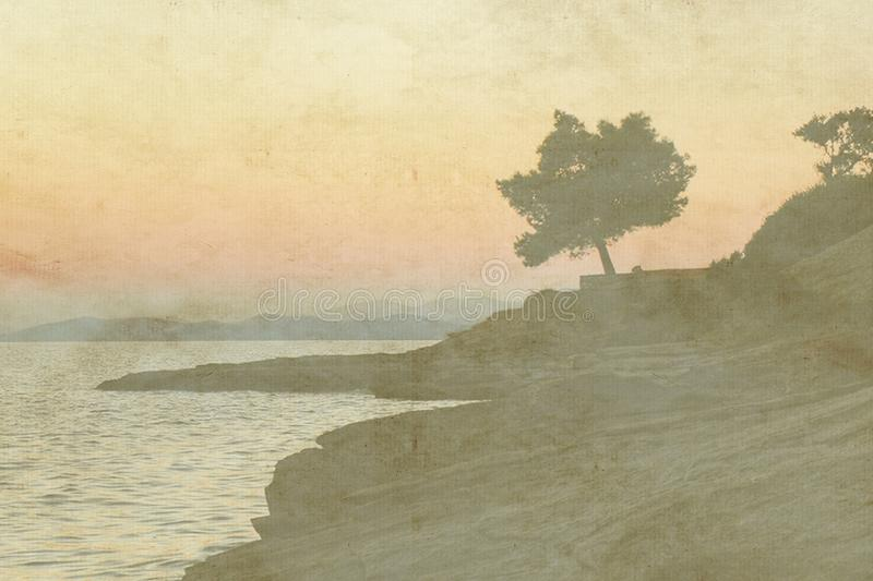 Vintage holiday card on old paper background. Sea view of single olive tree and sunset. Vintage holiday card on old paper background. Sea view of single olive royalty free illustration