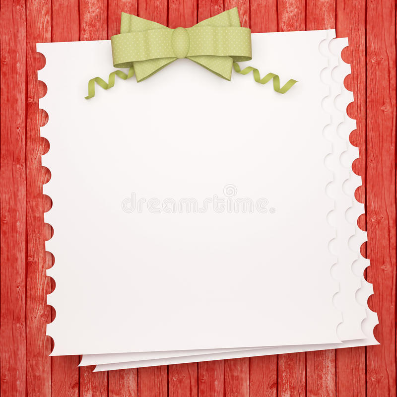 Vintage holiday paper background. Vintage holiday paper background with green bow, white invitation blank in front of red wooden wall for insert your text ( vector illustration