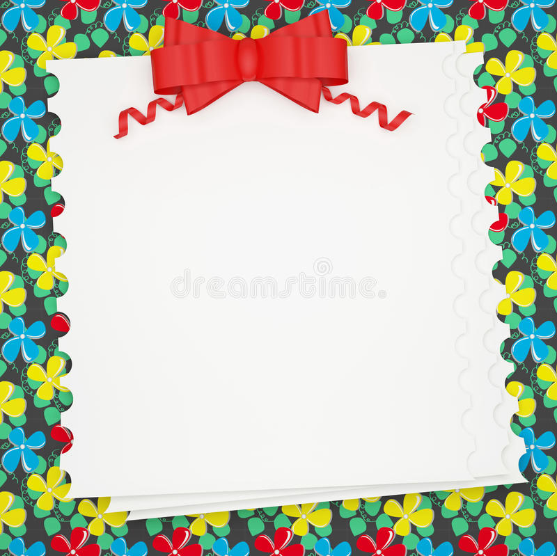 Vintage holiday paper background with red bow. vector illustration