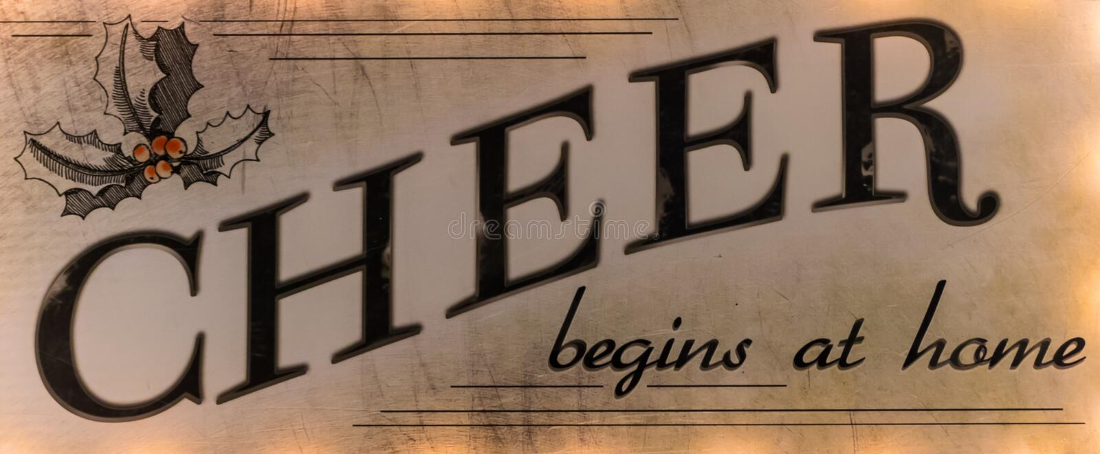 Cheer Begins at Home- a proverb that is often forgotten stock image