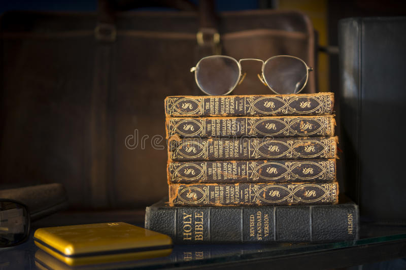 Vintage Holy Bible and Shakespeare royalty free stock images