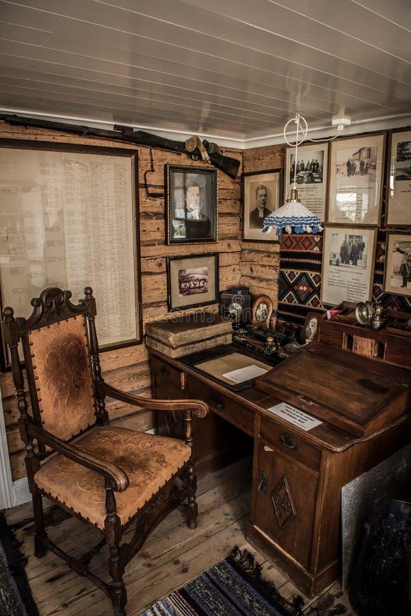 Vintage home office, Goteborg, Sweden. Desk and chair inside vintage home office in Goteborg, Sweden stock images