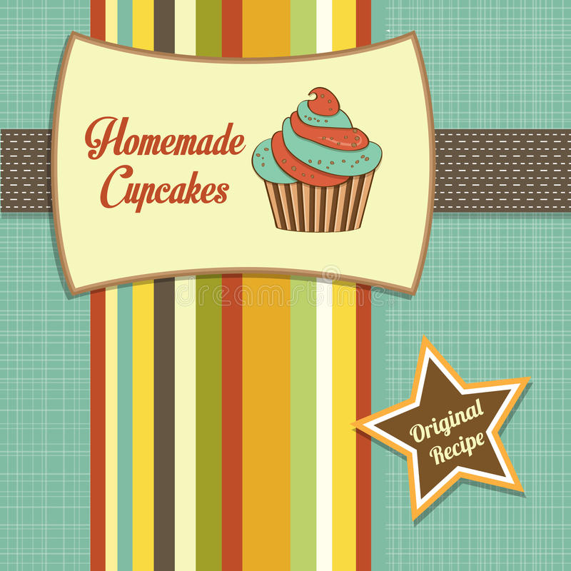Vintage homemade cupcakes poster. In vector format stock illustration