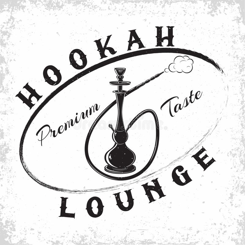 Vintage hookah emblem stock photo