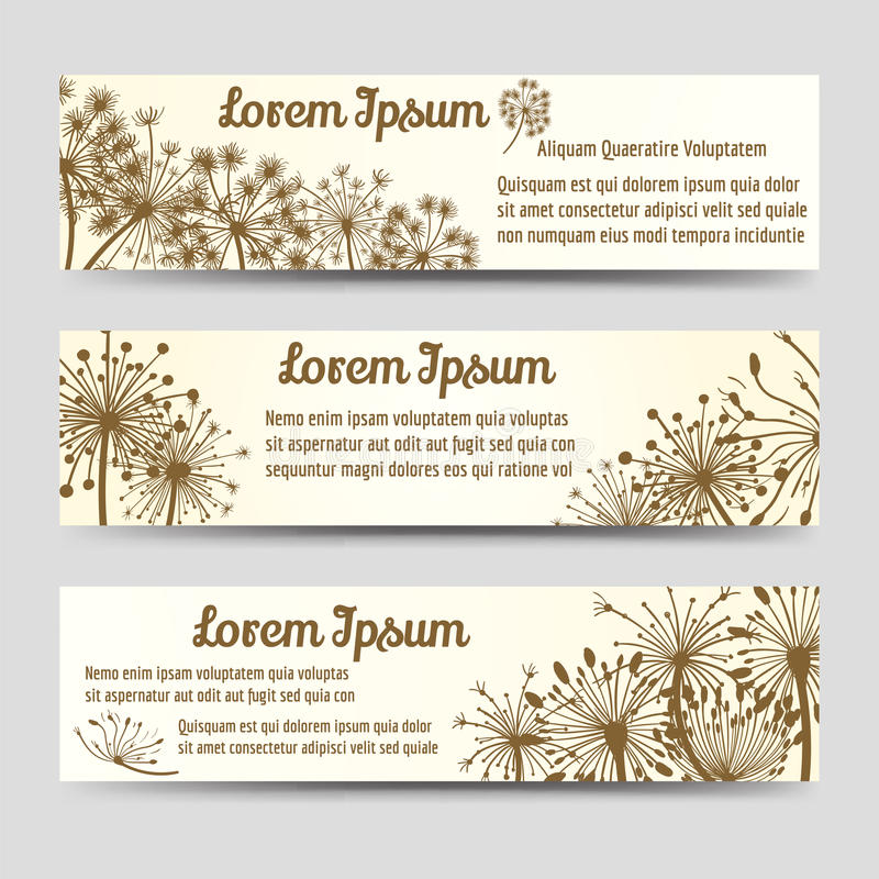 Vintage horizontal banners with dandelions stock illustration