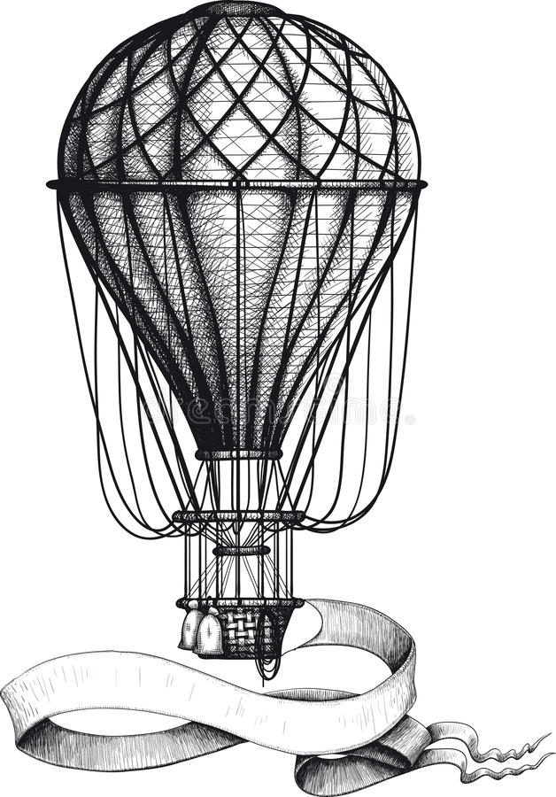 Vintage hot air balloon with banner stock photo