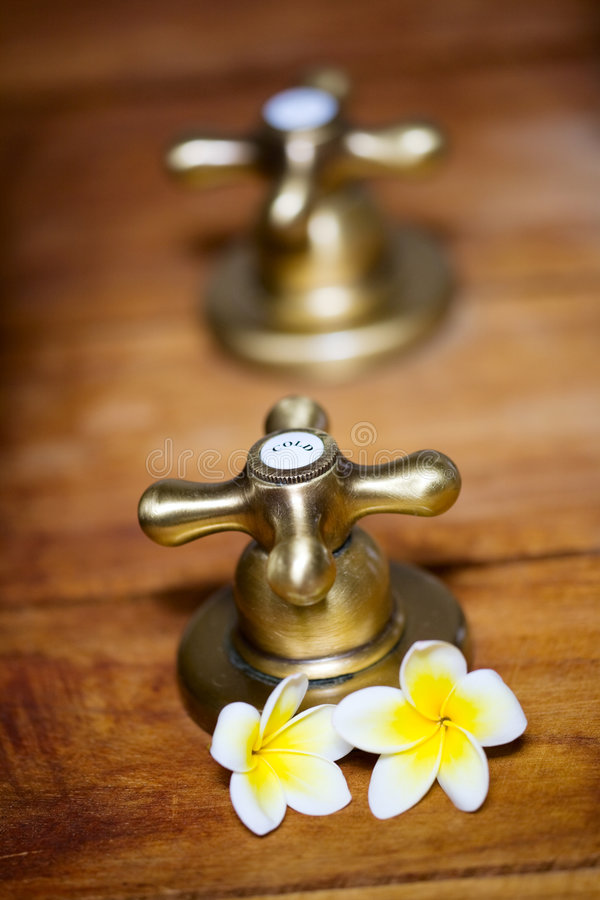 Vintage hot and cold tap royalty free stock photo