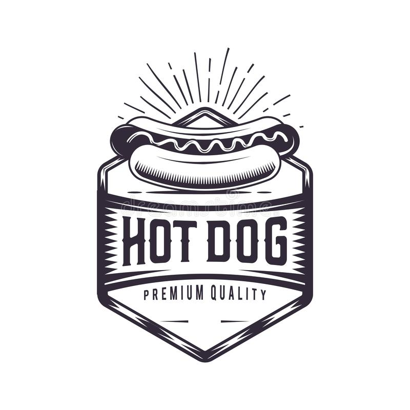 Vintage Hot Dog joint. Retro fast food illustration. Logo wiener design. royalty free illustration