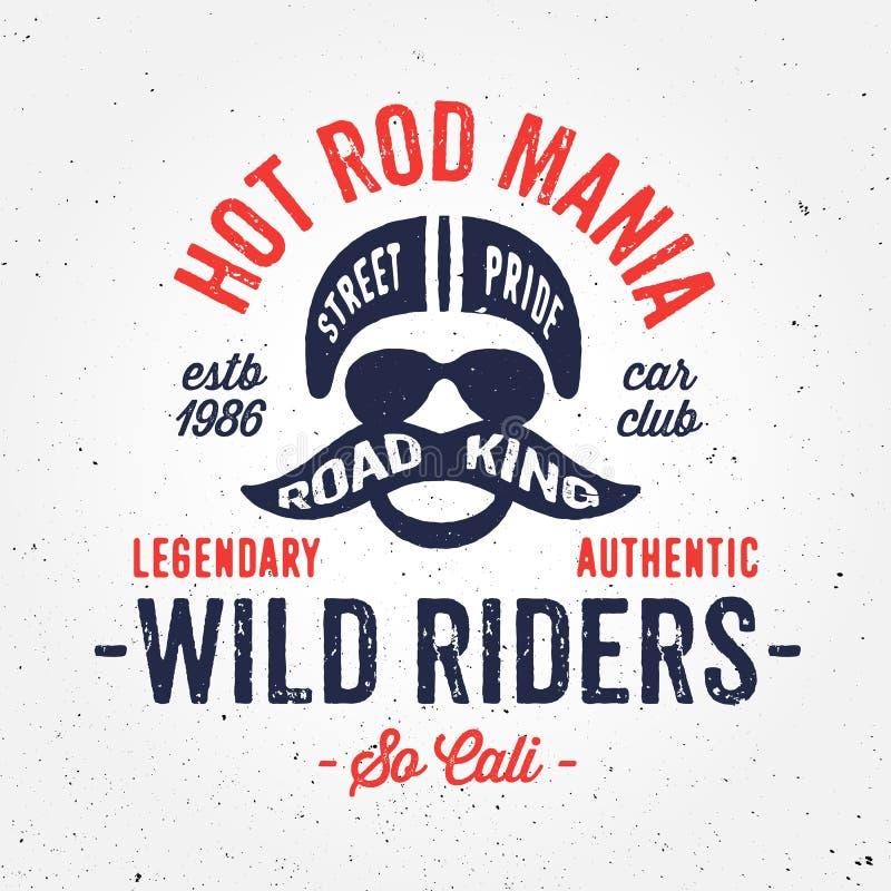Vintage hot rod bike inspired apparel fashion print design stock illustration