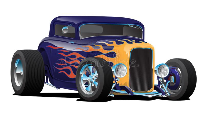 Vintage Hot Rod Car with Classic Flames Isolated Vector Illustration royalty free stock photo