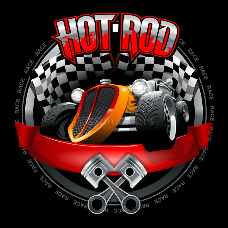 Vintage Hot Rod logo for printing on T-shirts or posters. Vector Illustration. royalty free stock photography