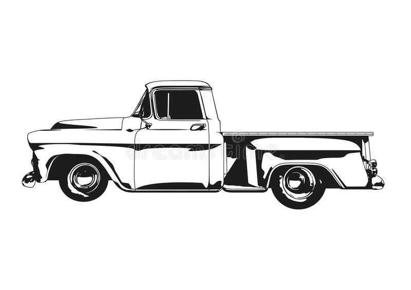 Download Vintage Hot Rod Pickup Truck Silhouette Vector Stock