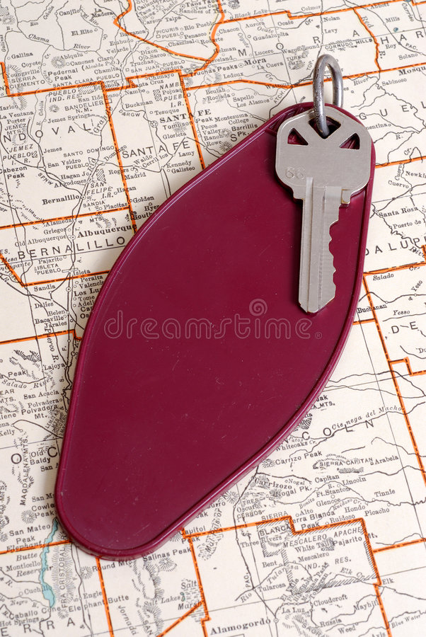 Download Vintage Hotel Key And Map Stock Image - Image: 1810321