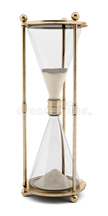 Vintage hourglass isolated on white stock illustration