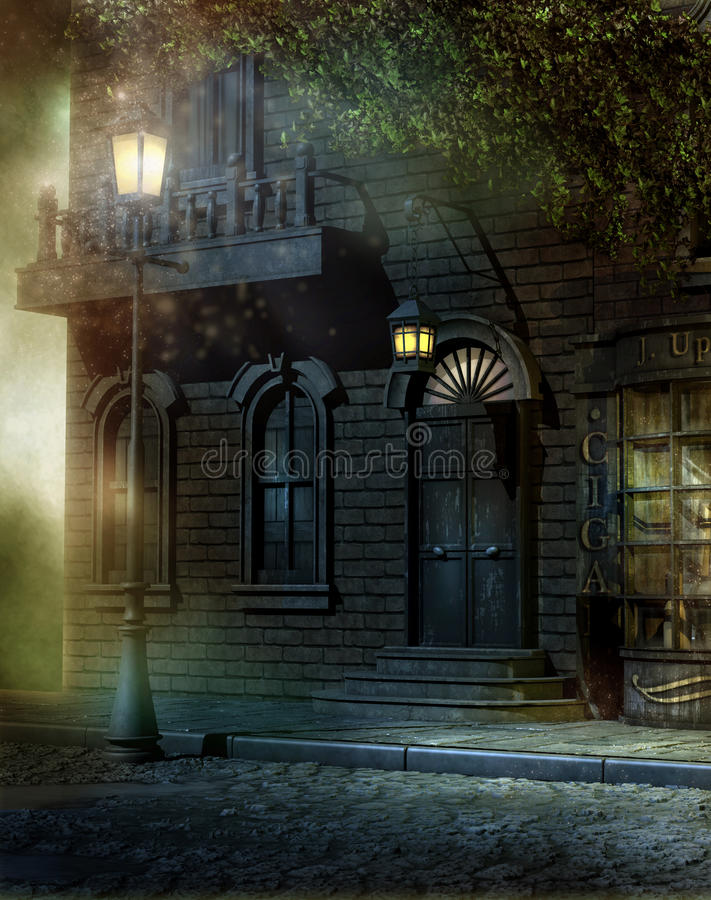 Vintage house. Victorian house with lamps at night