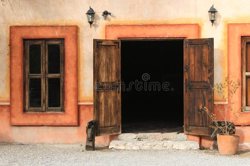Vintage house with beautiful wooden door. Tequisquiapan, Mexico. Magic Town. stock photos
