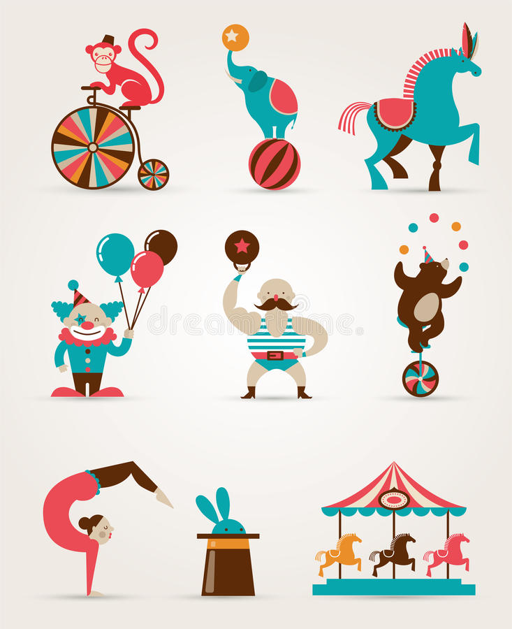 Vintage huge circus collection with carnival, fun royalty free illustration