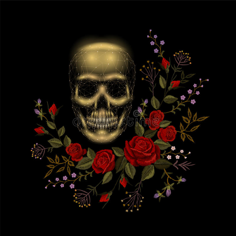 Vintage human skull bone flower red rose arrangement. Embroidery fashion decoration patch. Low poly polygonal triangle stock illustration