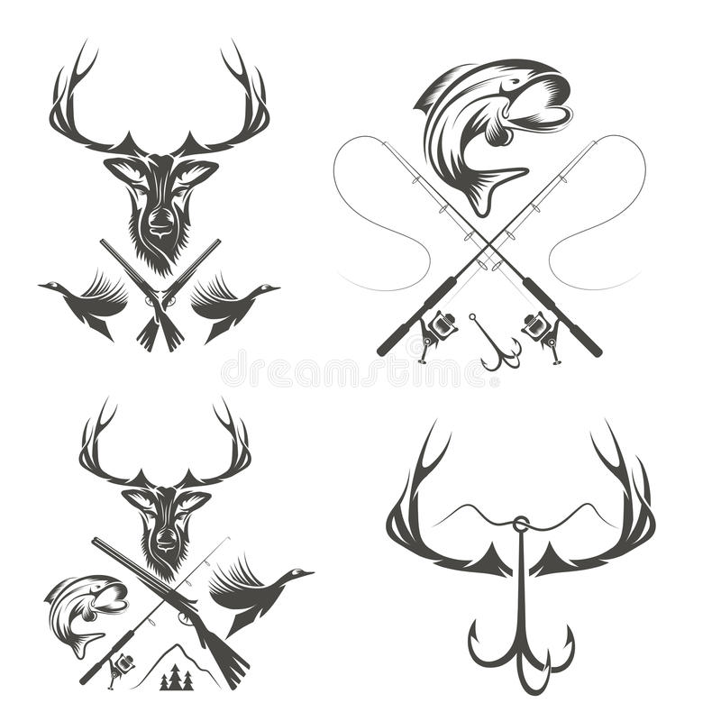 Vintage hunting and fishing labels and design elements stock illustration
