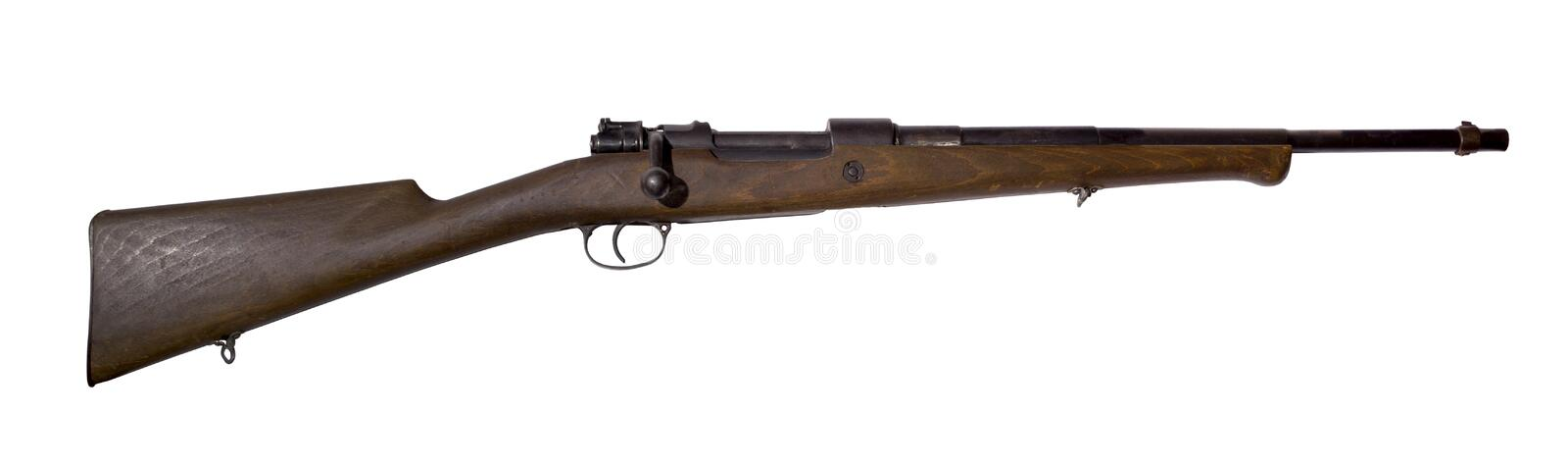 Vintage hunting rifle, converted from an army carbine, on a white background stock photo