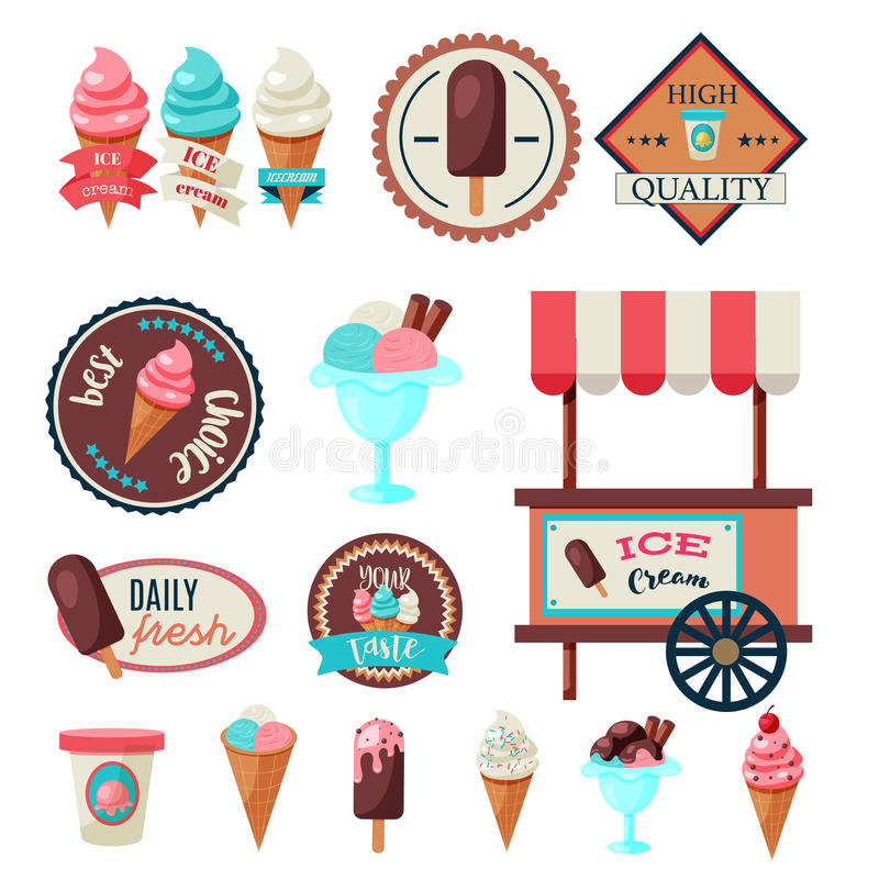 Vintage Ice Cream Label Set Template Stock Vector - Illustration of ...