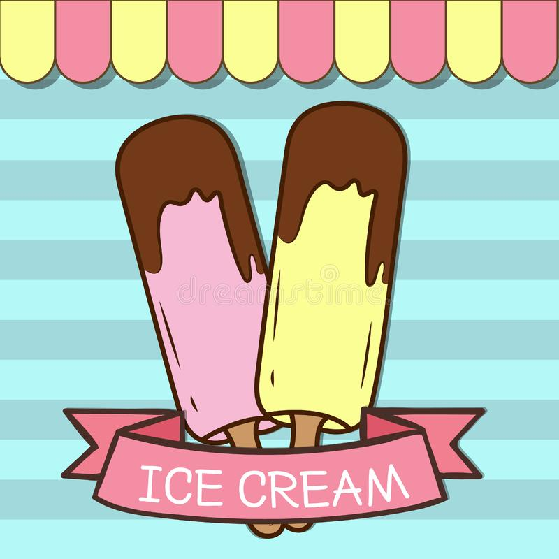 Vintage ice cream poster design stock photos