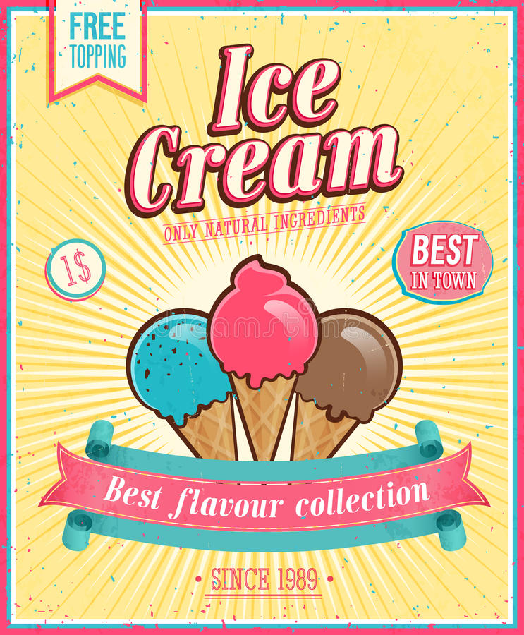 Vintage Ice Cream Poster. royalty free illustration
