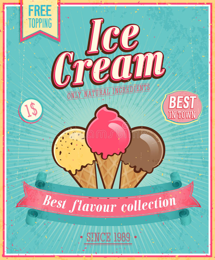 Vintage Ice Cream Poster. Vector illustration