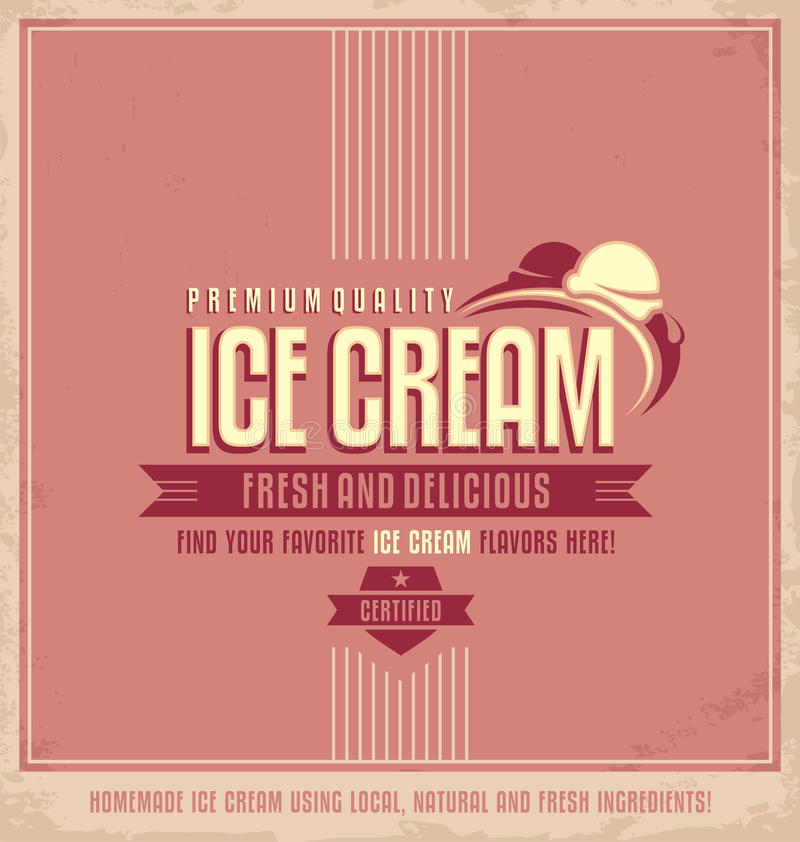 Free Vintage Ice Cream Promotional Poster Royalty Free Stock Images - 44224559