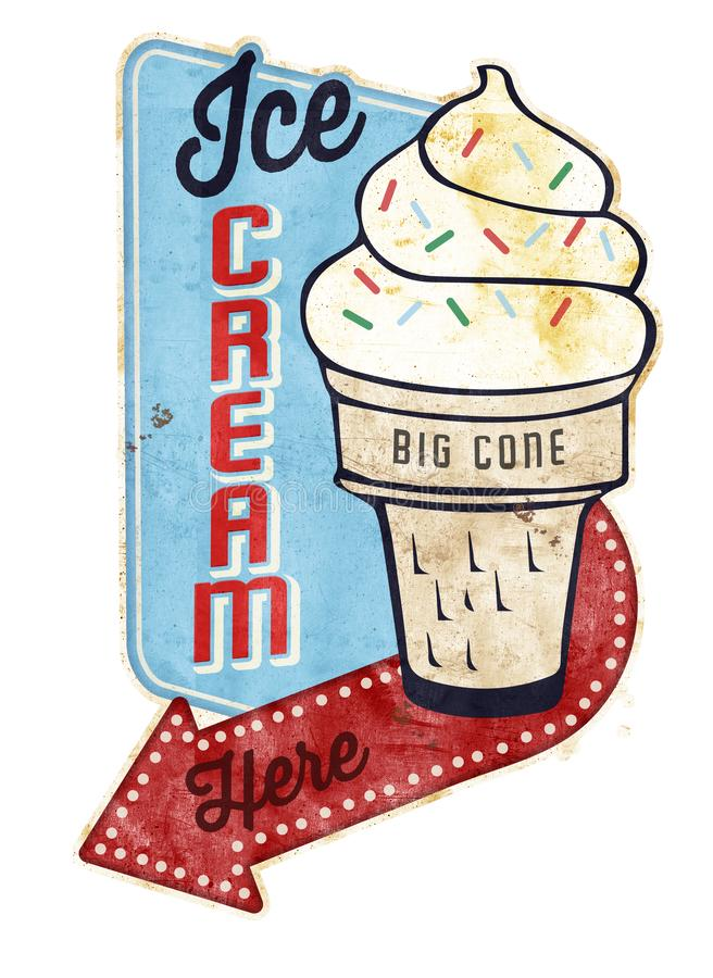 Vintage Ice Cream Tin Sign. Ice Cream Sign Advertisement Vintage Tin Sign Grunge Old antique retro movies concession ad poster print royalty free illustration