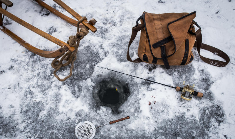 Vintage Ice Fishing #2 royalty free stock images