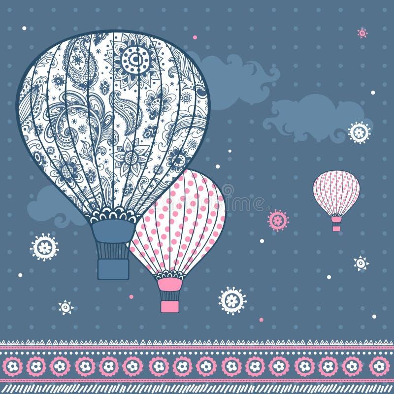 Vintage Illustration with air balloons stock illustration