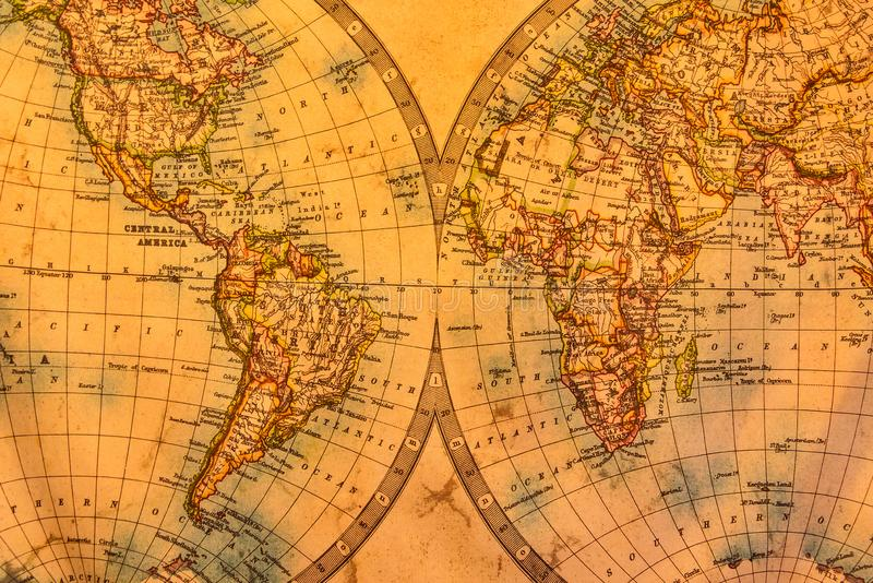 Vintage illustration of ancient atlas map of world on old paper stock images