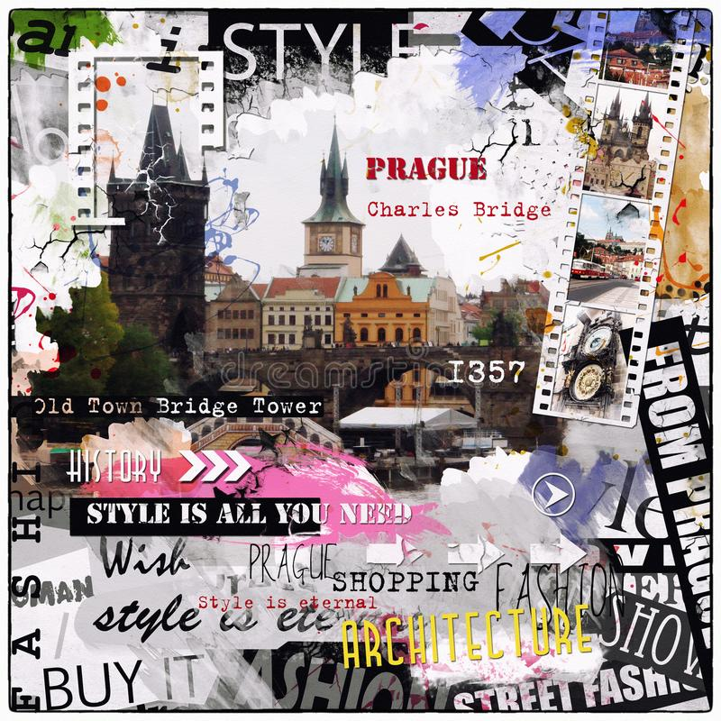 Vintage illustration with Charles bridge stock photos