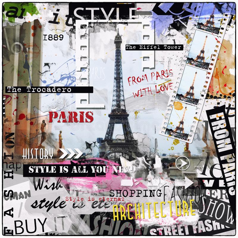 Vintage illustration with Eiffel Tower and fashion woman royalty free stock photos