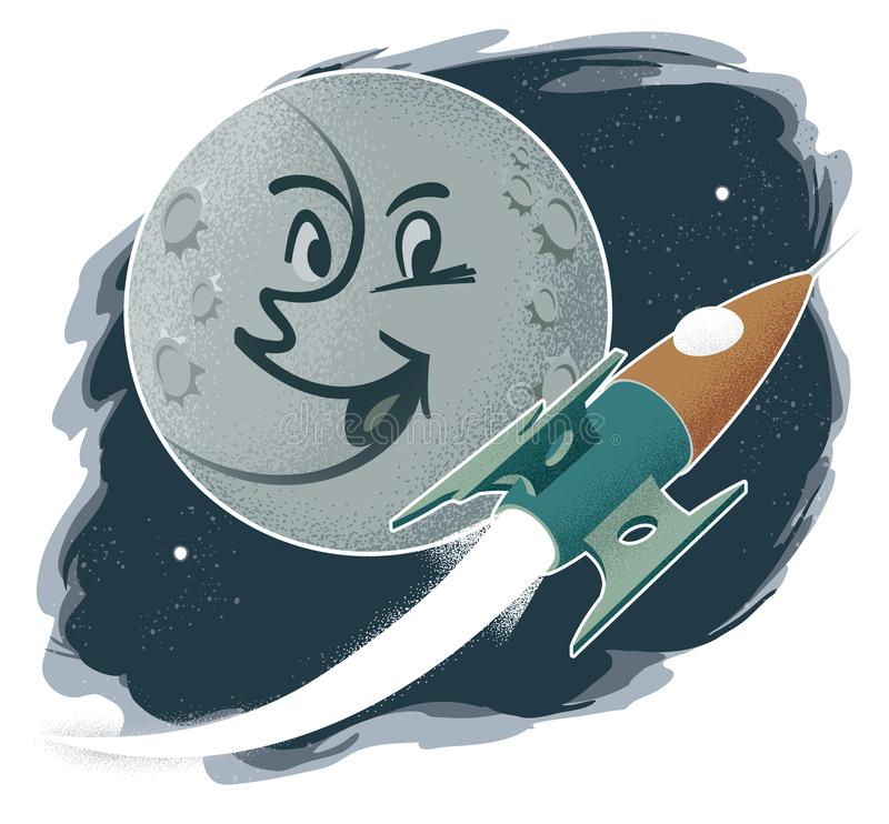 Vintage Illustration of Face on Moon with Rocket royalty free illustration