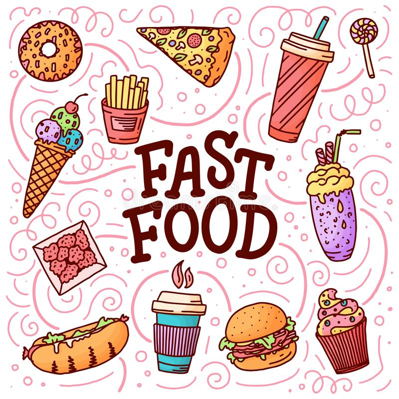 Vintage illustration with fast food doodle elements and lettering on background for concept design. Vector illustration for any vector illustration