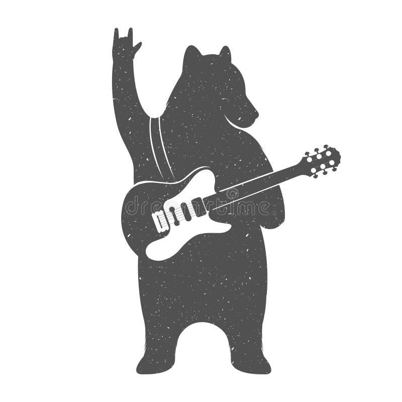 Vintage Illustration of Funny Bear with Guitar vector illustration
