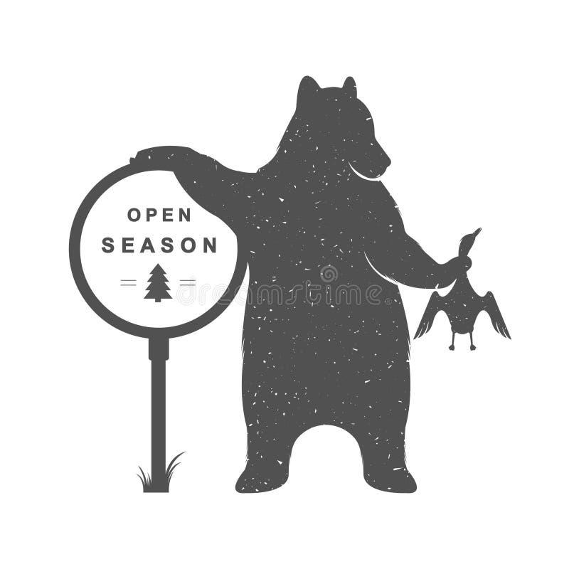 Vintage Illustration of Funny Bear Hunter vector illustration