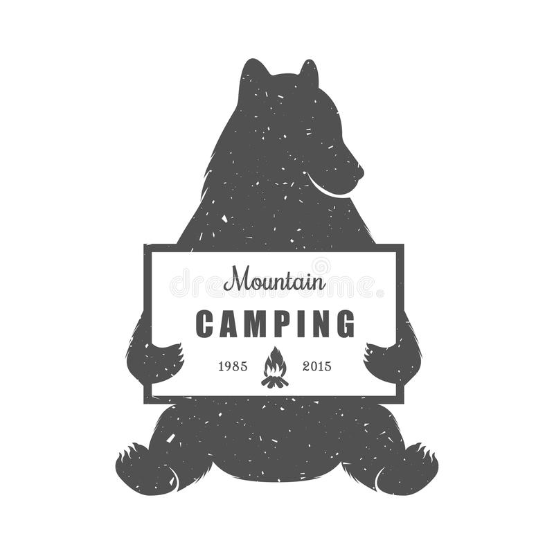 Vintage Illustration of Funny Bear with Sign Camping vector illustration