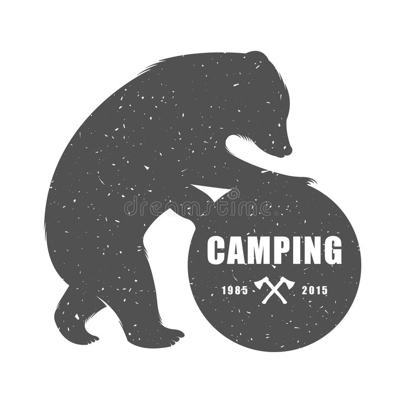 Vintage Illustration of Funny Bear with Sign Camping stock illustration