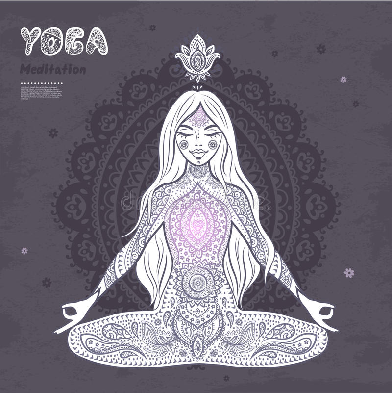Vintage illustration. girl in a meditation pose. Vector illustration of a girl in a meditation pose vector illustration