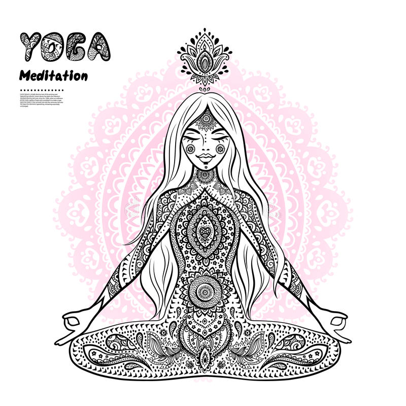 Vintage illustration. girl in a meditation pose. Vector illustration of a girl in a meditation pose stock illustration